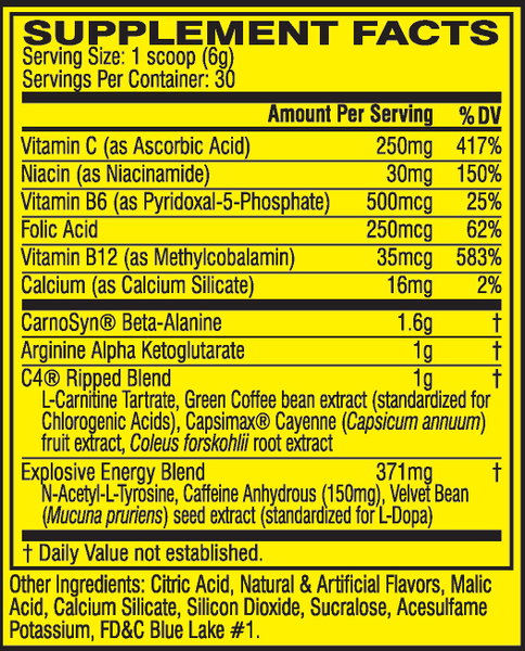 Nutrition Facts Cellucor C4 Ripped Explosive Pre-Workout Supplement Buy All Over Lahore Pakistan 2021, www.arnutrition.pk iS The Best Food Supplements Store