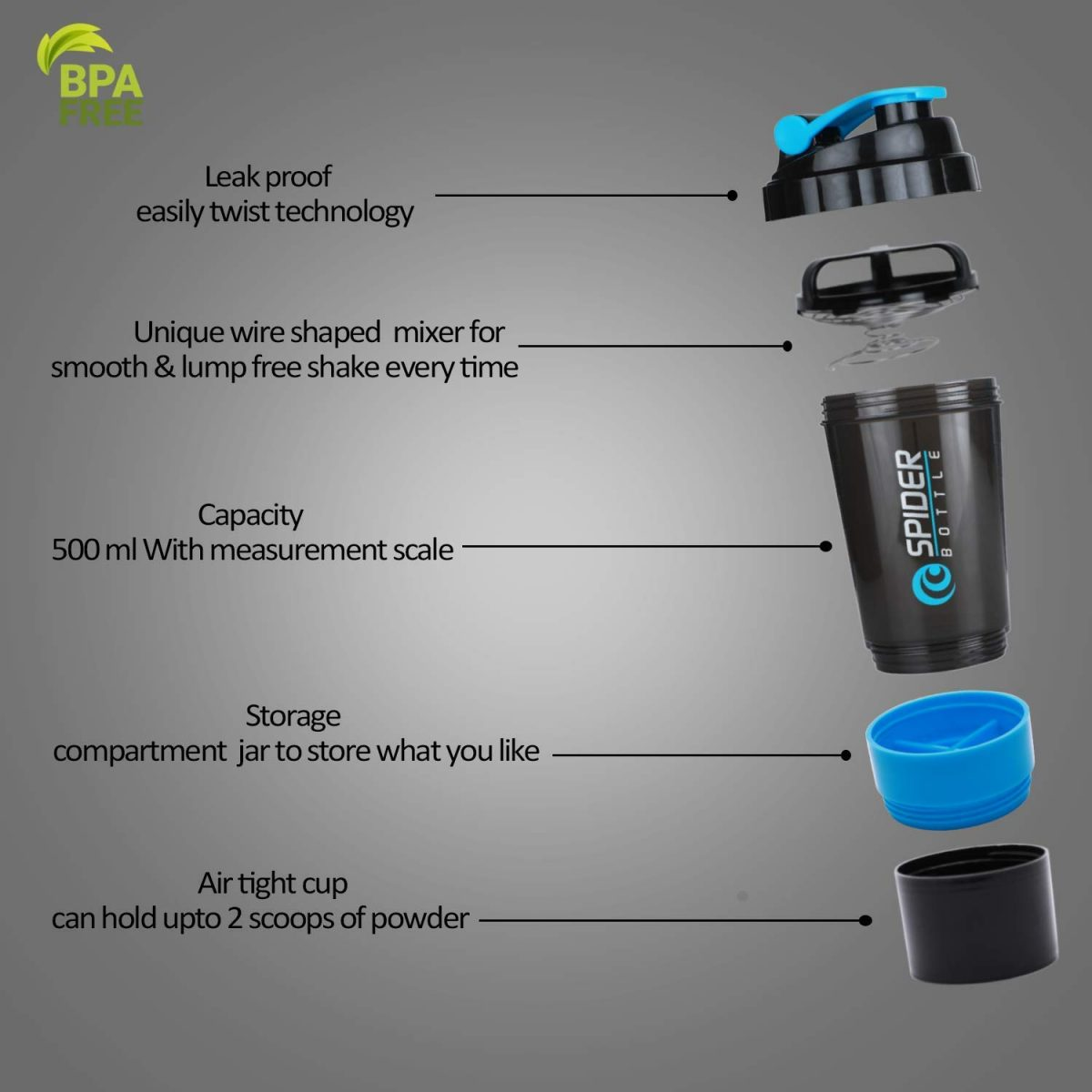 Buy Combo of Spider Protein Shaker Bottle 500ML With 2 Storage Extra Compartment All Over In Lahore Pakistan 2021, www.arnutrition.pk iS The Best Food Supplements Store In Lahore Pakistan 5