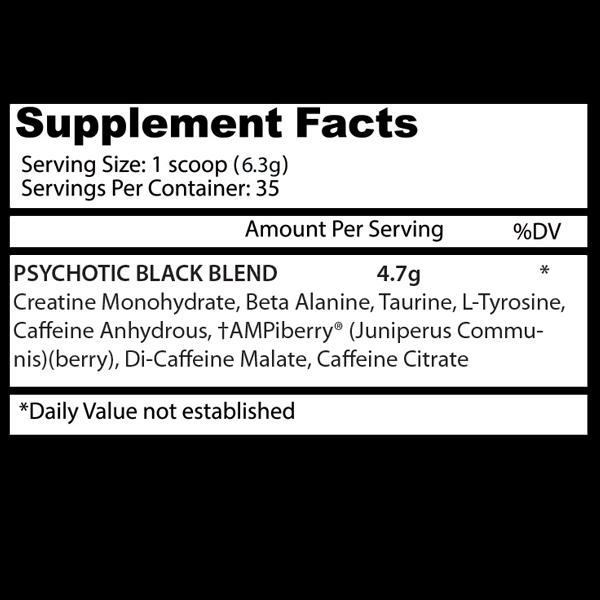 Nutrition Facts About Psychotic Black Infused Pre Workout Powerhouse By Insane Labz Supplement Buy All Over In Pakistan 2021, www.arnutrition.pk iS The Best Food Supplements Store In Lahore Pakistan