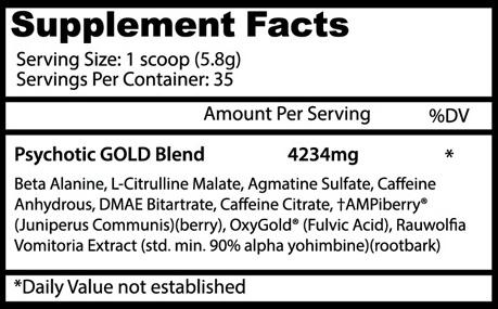 Nutrition Facts About Psychotic Gold Infused Pre Workout Powerhouse By Insane Labz Supplement Buy All Over In Pakistan 2021, www.arnutrition.pk iS The Best Food Supplements Store In Lahore Pakistan
