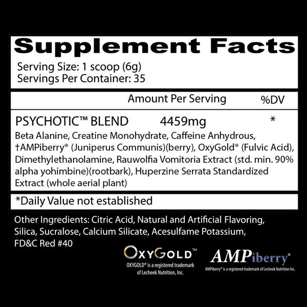 Nutrition Facts About Psychotic Red Infused Pre Workout Powerhouse By Insane Labz Supplement in 35 Servings Buy All Over In Lahore Pakistan 2021, www.arnutrition.pk iS The Best Food Supplements Store In Lahore Pakistan