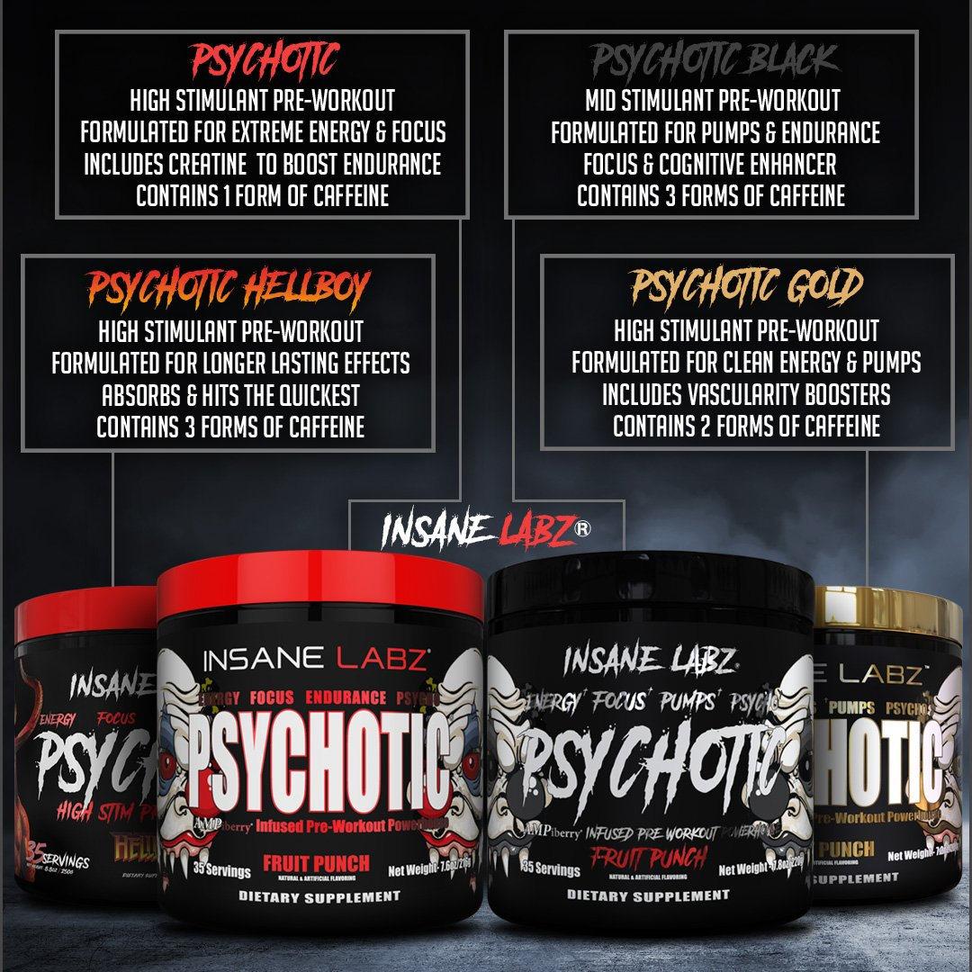 Psychotic Gold is High Stimulant Pre-Workout Formulated For Clean Energy & Pumps Includes Vascularity Boosters Contains 2 Forms of Caffeine. Buy Products Of Insane Labz At www.arnutrition.pk